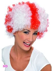 St. George/England Supporters Wig, Red And White