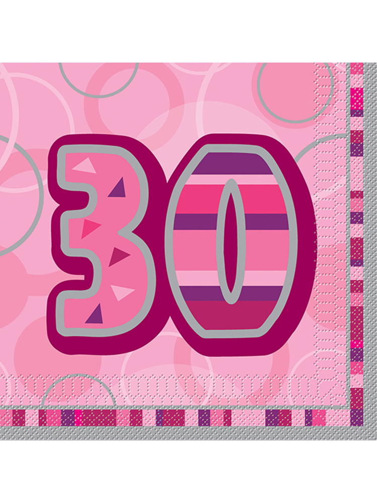 Birthday Glitz Pink - 30th Birthday - Luncheon Napkins