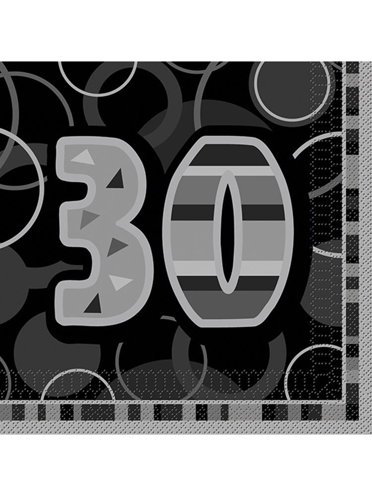 Birthday Glitz Black & Silver 30th Birthday - Luncheon Napkins