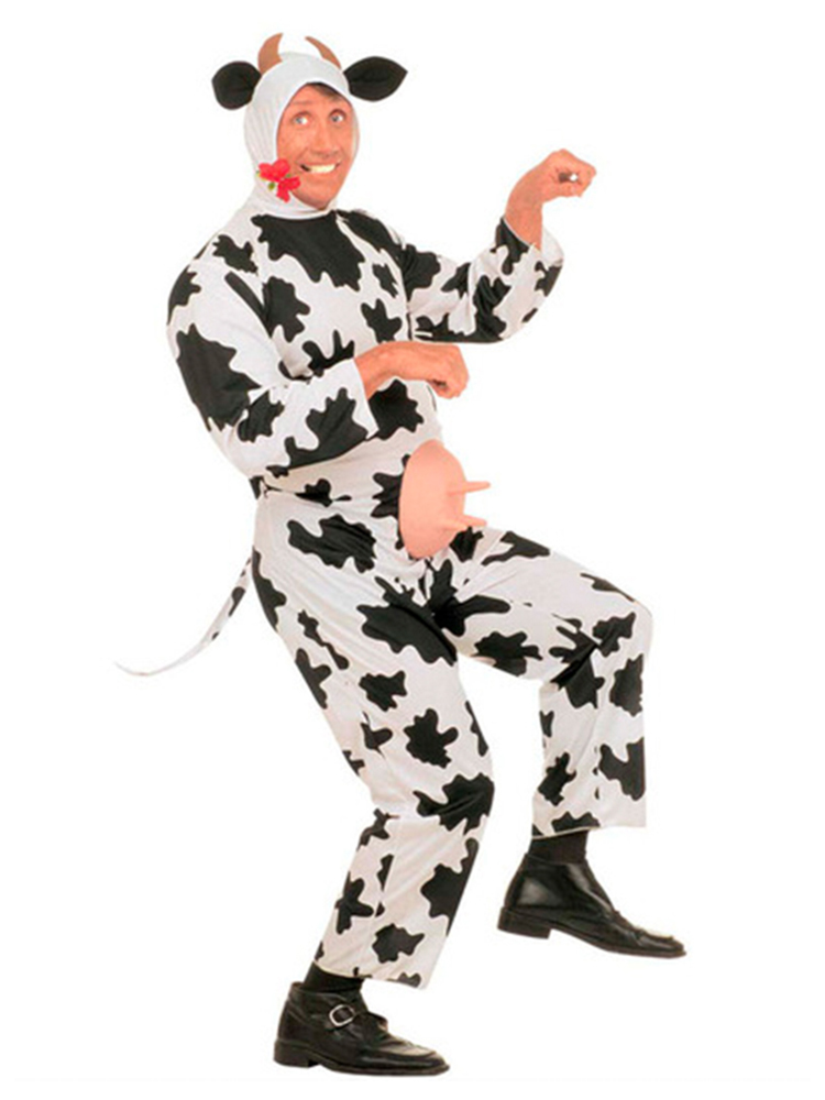 Funny Cow Costume (Jumpsuit Headpiece Horns)
