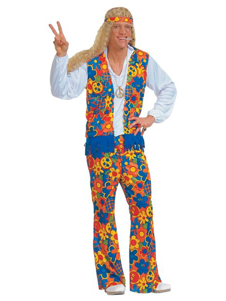 HIPPIE COSTUME MENS (SHIRT VEST PANTS H/BAND NECKLACE)