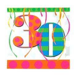 30th Balloon Bright Birthday Party Napkins