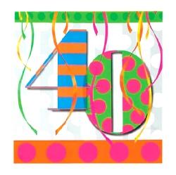 40th Balloon Bright Birthday Party Napkins