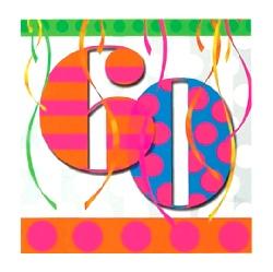 60th Balloon Bright Birthday Party Napkins