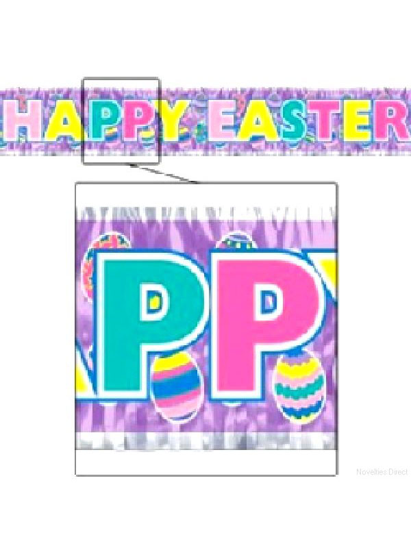 Happy Easter Banner Metallic Fringe