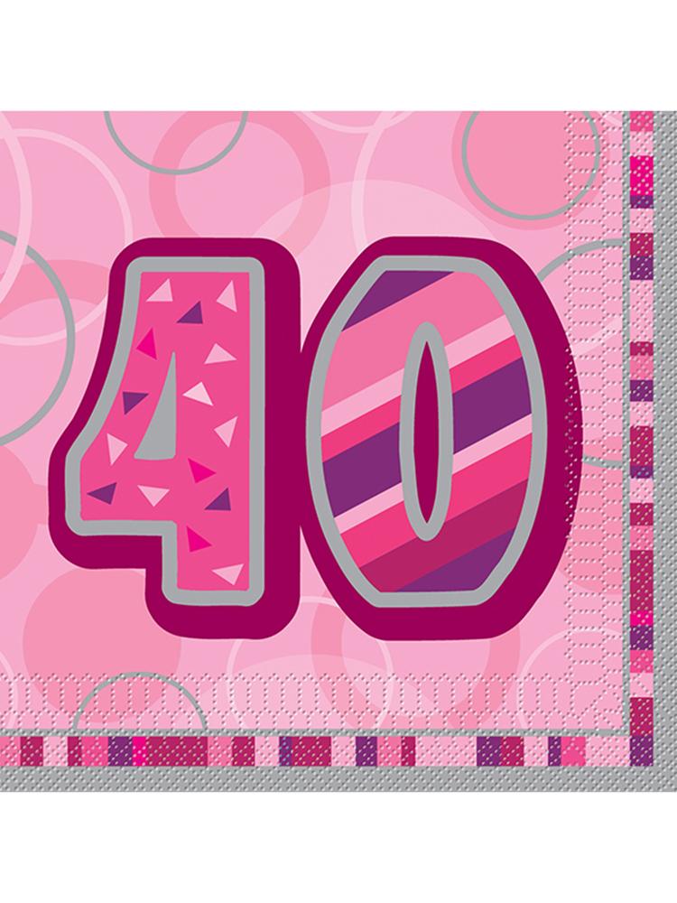 Birthday Glitz Pink - 40th Birthday - Luncheon Napkins
