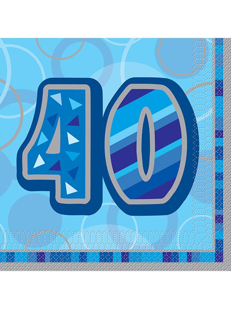 Birthday Glitz Blue - 40th Birthday - Luncheon Napkins