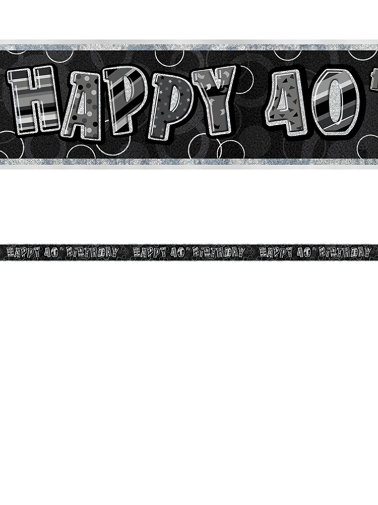 Birthday Glitz Black & Silver 40th Birthday Prism Banner