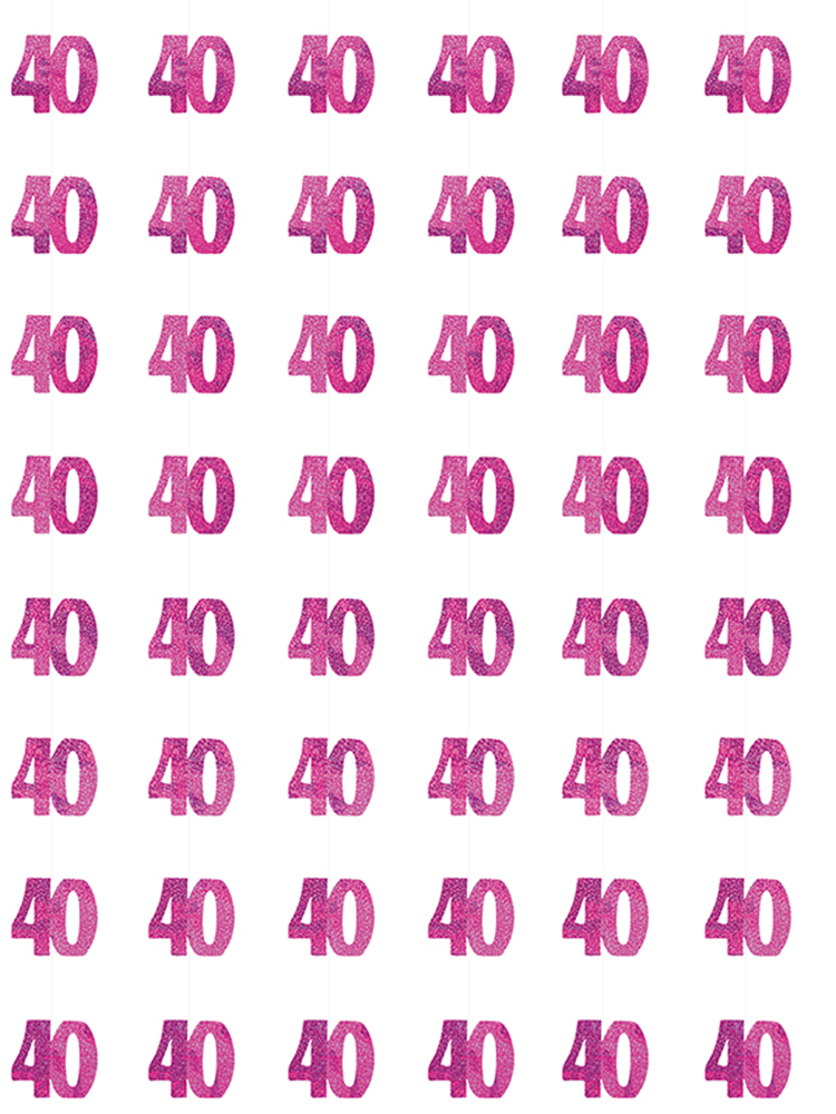 Birthday Glitz Pink - 40th Birthday Prism Hanging Decoration