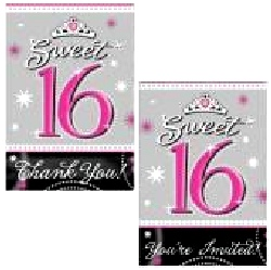 Sweet 16 Sparkle 10 Invitations and 10 Thank You Cards