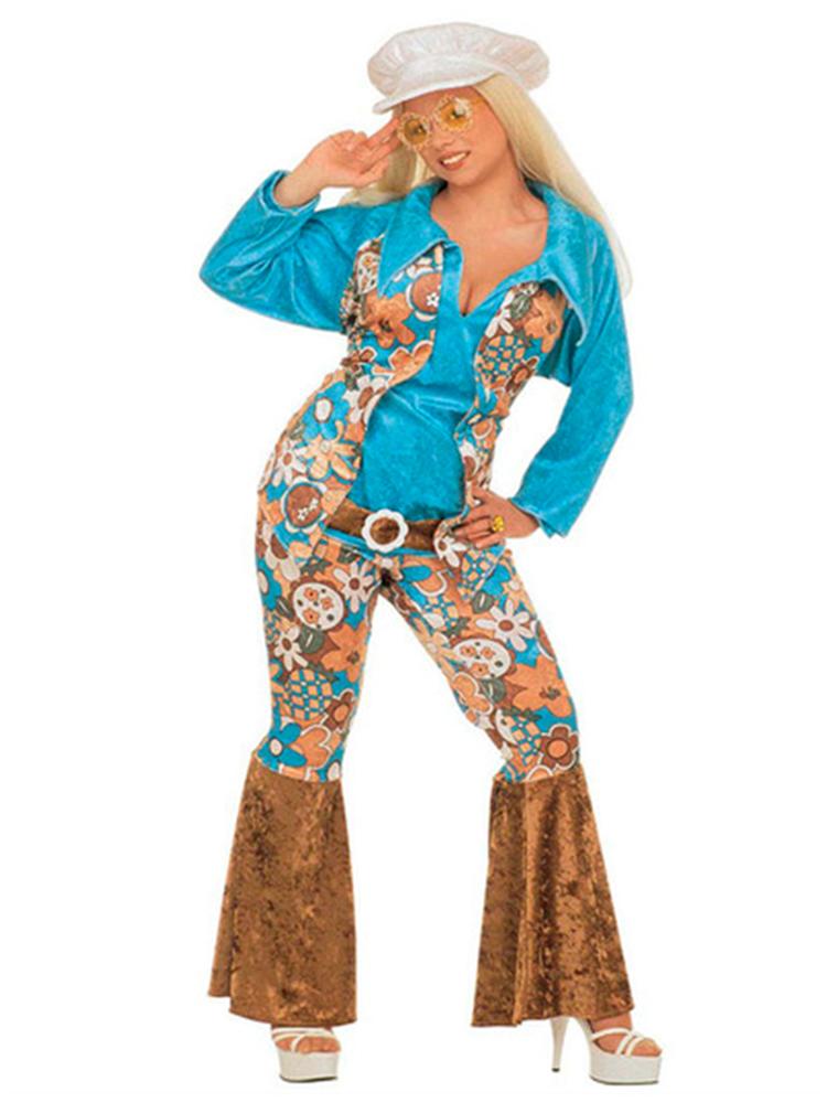 HIPPIE WOMAN BLUE VELVET (SHIRT VEST BELT PANTS HAT)