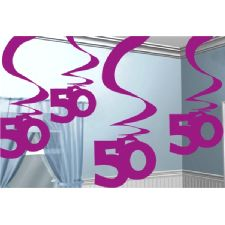 50 Hanging Swirl Decoration Pink Pack of 5