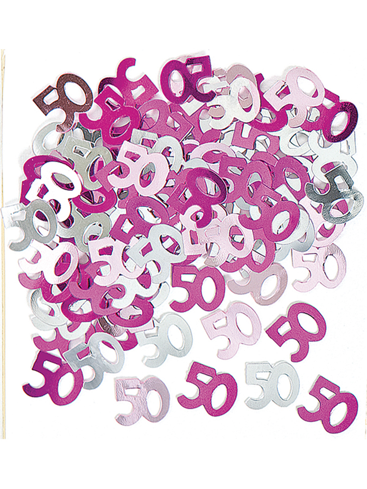 Birthday Glitz Pink - 50th Birthday Confetti
