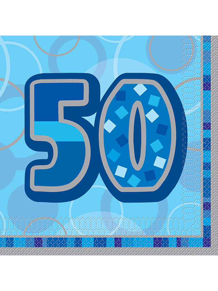 Birthday Glitz Blue - 50th Birthday - Luncheon Napkins