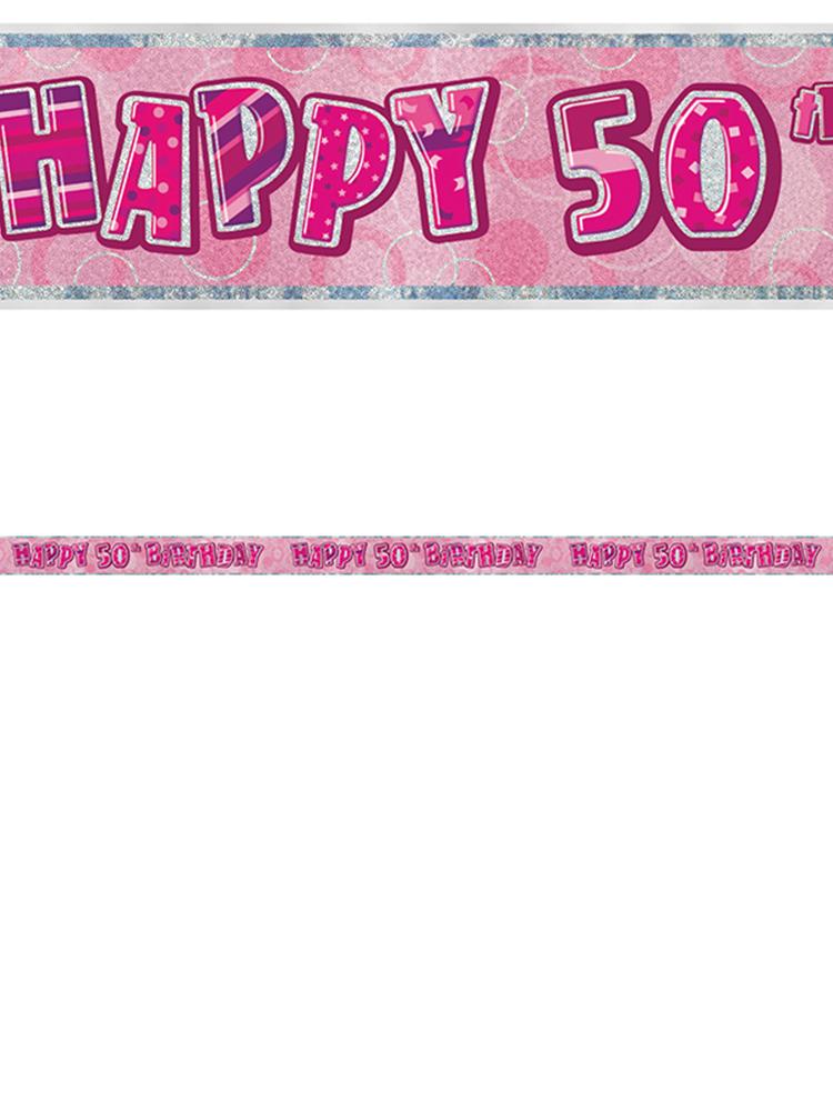 Birthday Glitz Pink 50thBirthday Prism Banner