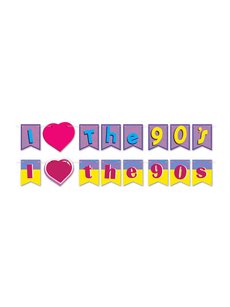 "I Love The 90's Streamer Set 6""–6¾"" x 12'"