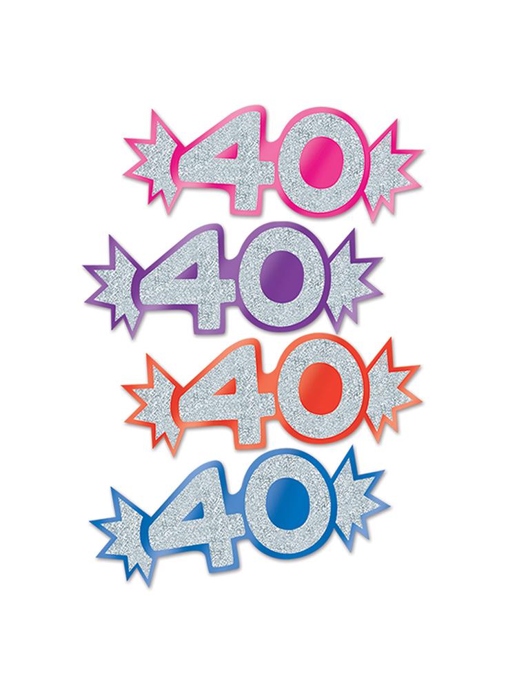40  Mini Glittered Foil Cutouts