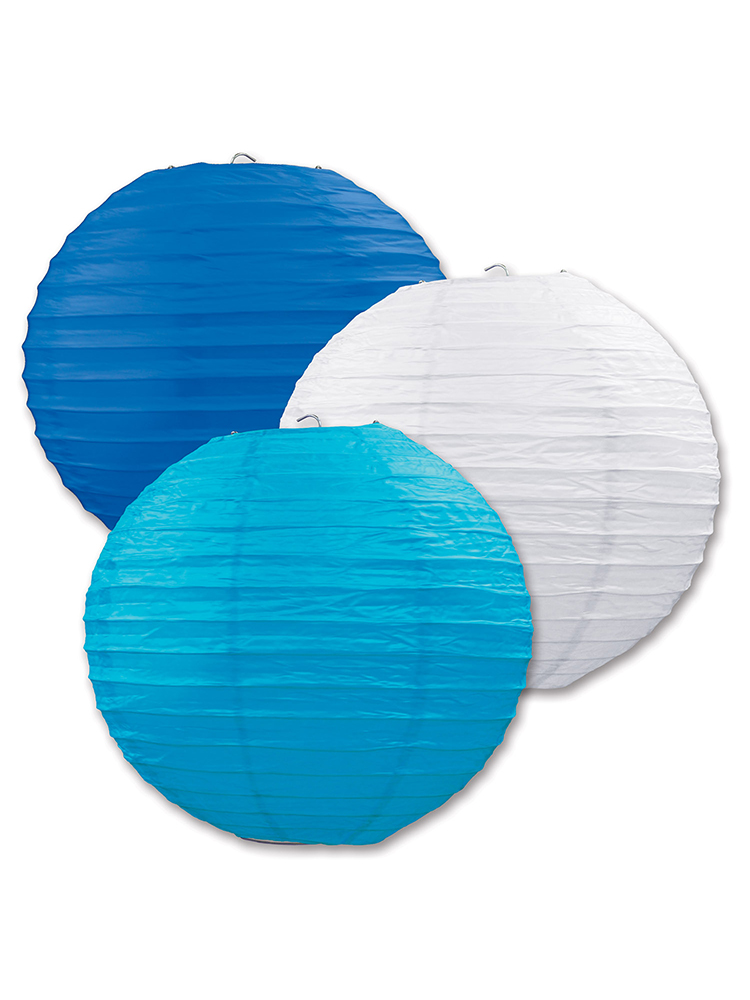 Paper Lanterns (Pack Of 3) - Blues & White