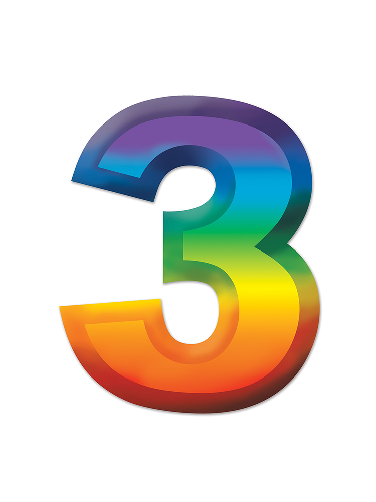Multi-Color Plastic 3-D Number  3