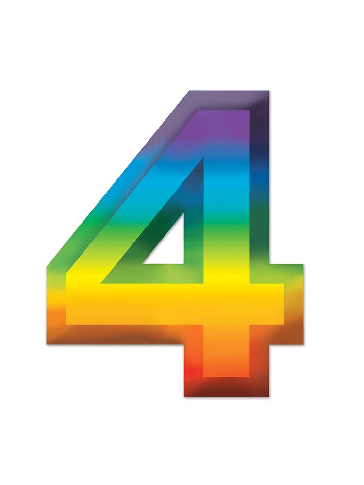 Multi-Color Plastic 3-D Number  4