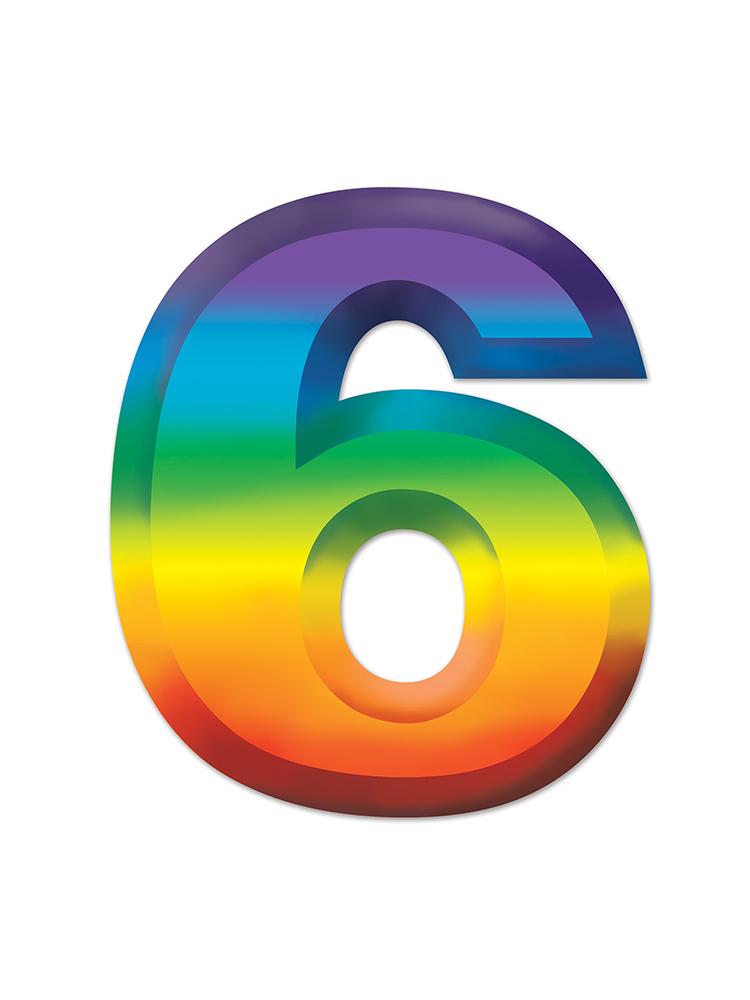 Multi-Color Plastic 3-D Number  6