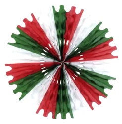 Decoration Tissue Fan Red - White And Green Honeycomb Hanging Fan 64cm