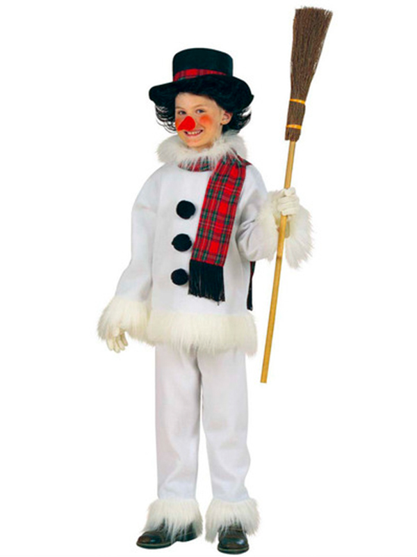 Snowman Costume (Coat Pants Hat Scarf Nose) Childrens