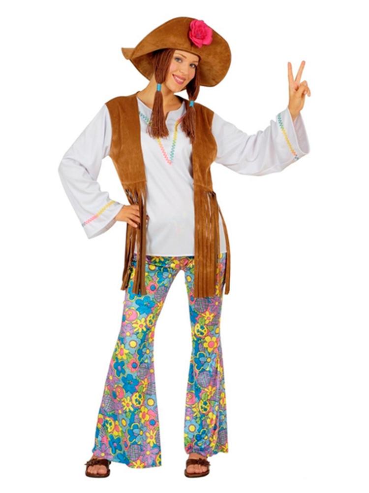 WOODSTOCK HIPPIE WOMAN (SHIRT W/VEST PANTS HAT W/HAIR)