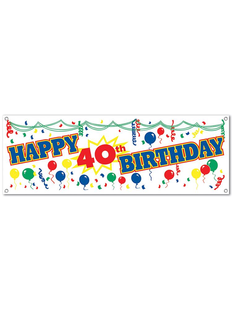 Happy  40th  Birthday Sign Banner