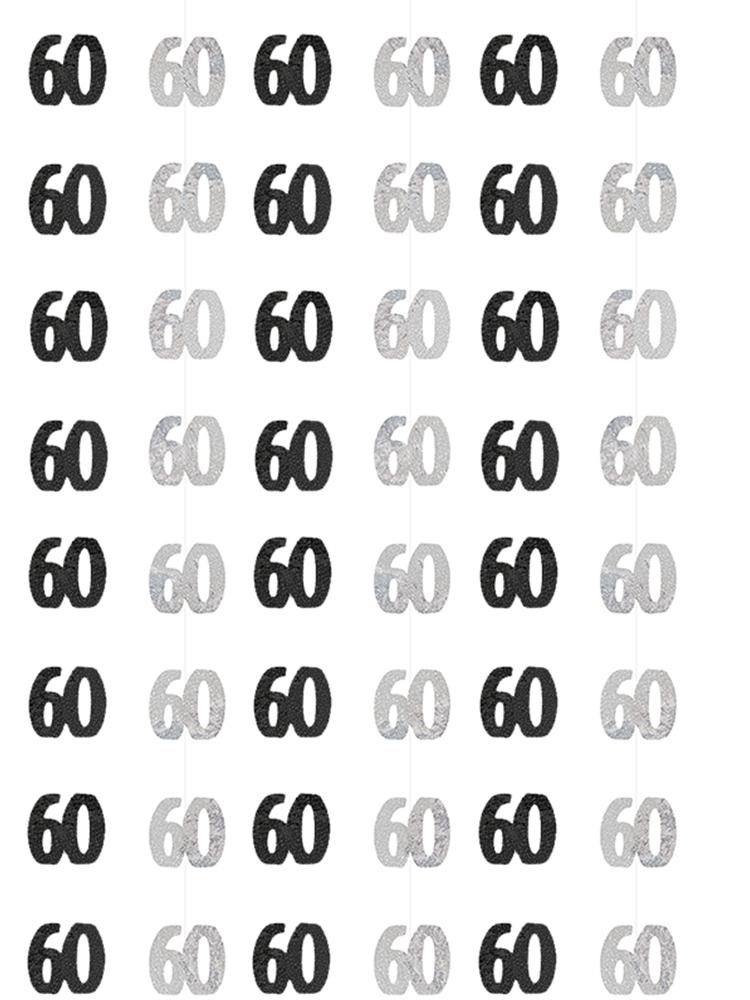 Birthday Glitz Black & Silver 60th Birthday Prism Hanging Decoration