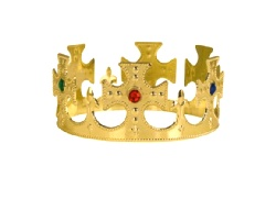 Prom King/Queen Plastic Jeweled King's Crown  Gold(1)