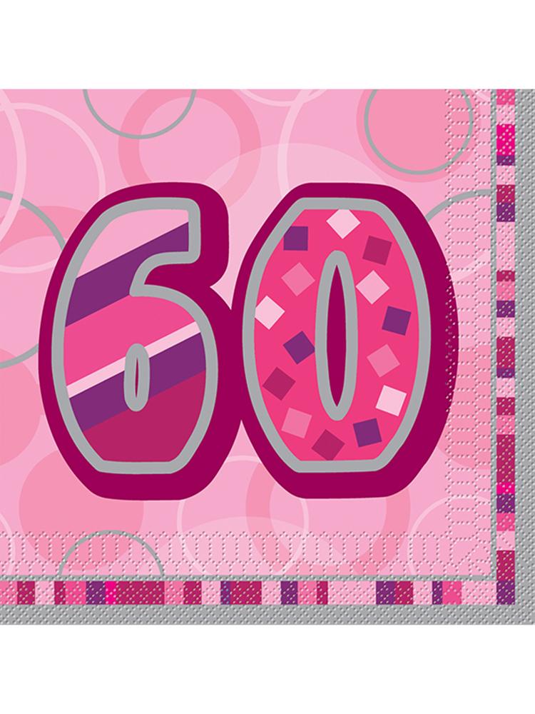 Birthday Glitz Pink - 60th Birthday - Luncheon Napkins