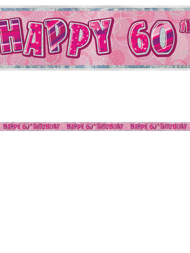 Birthday Glitz Pink 60th Birthday Prism Banner