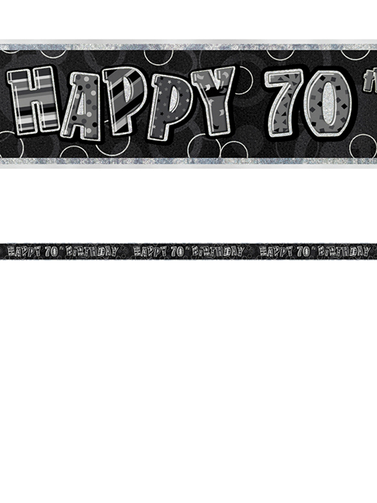 Birthday Glitz Black & Silver 70th Birthday Prism Banner