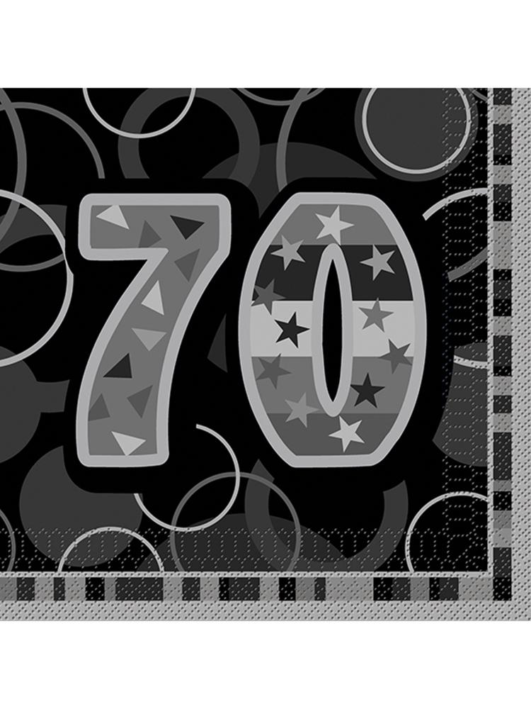 Birthday Glitz Black & Silver 70th Birthday - Luncheon Napkins