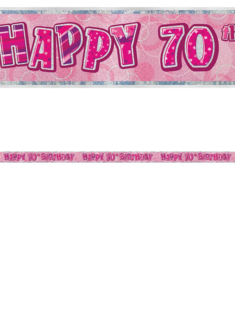 Birthday Glitz Pink 70thBirthday Prism Banner