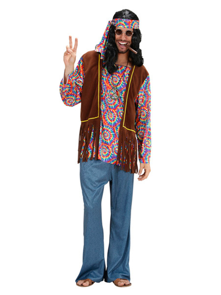 PSYCHEDELIC HIPPIE MAN (TOP W/VEST PANTS BAND NECKLACE)