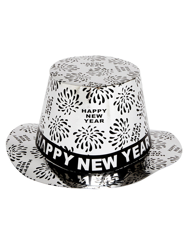 Top Hat New Year with Firework Design - Silver