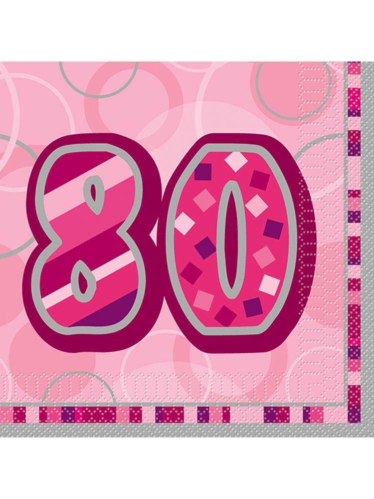 Birthday Glitz Pink - 80th Birthday - Luncheon Napkins