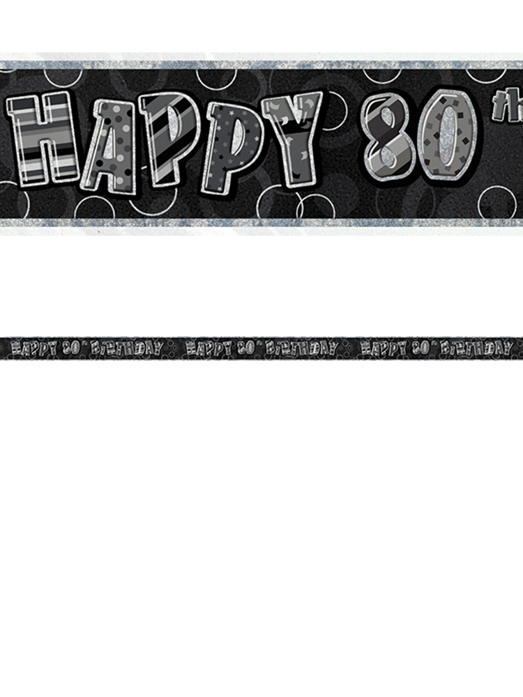 Birthday Glitz Black & Silver 80th Birthday Prism Banner