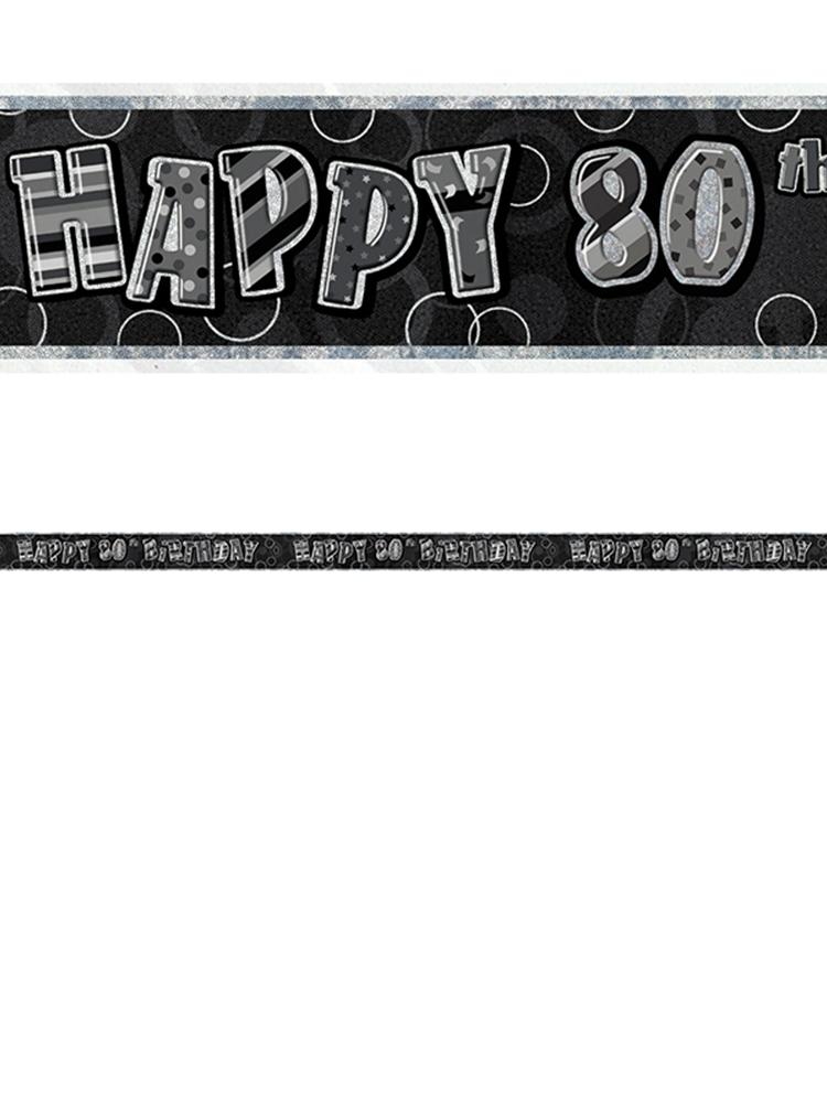 Birthday Glitz Black & Silver 80th Birthday Prism Banner