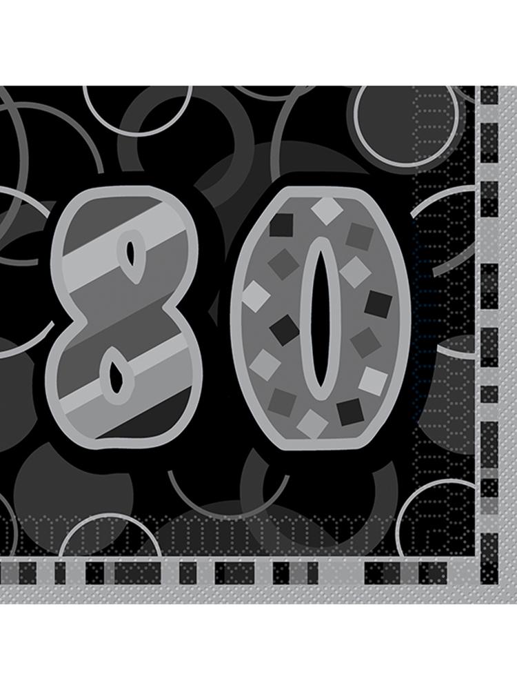 Birthday Glitz Black & Silver 80th Birthday - Luncheon Napkins