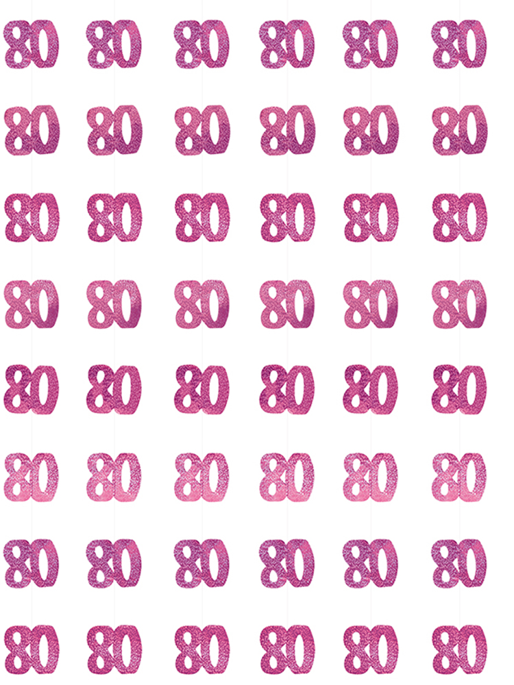 Birthday Glitz Pink - 80th Birthday Prism Hanging Decoration