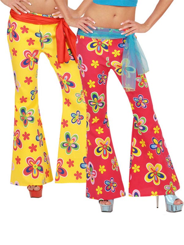 70S FLOWER PANTS WOMENS RED OR YELLOW