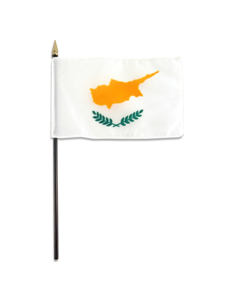 "Cyprus medium hand flag 9"" x 6"""