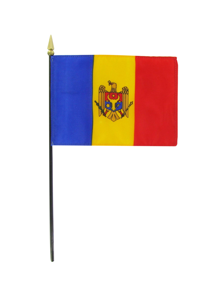 "Moldova medium hand flag 9"" x 6"""
