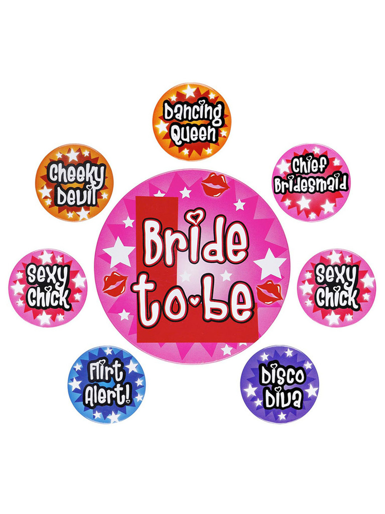 Hen Party Badge's - Set Of 8