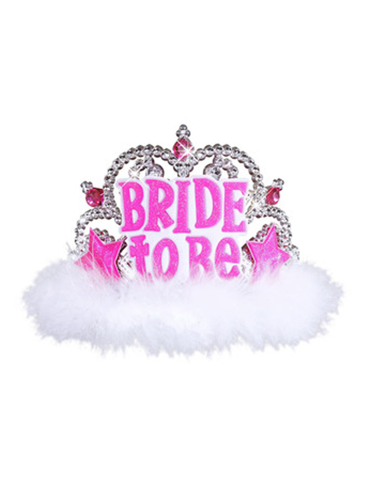 Bride To Be Tiara W/ White Marabou