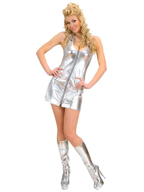 SILVER ZIPPER DRESS