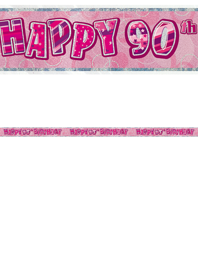 Birthday Glitz Pink 90thBirthday Prism Banner